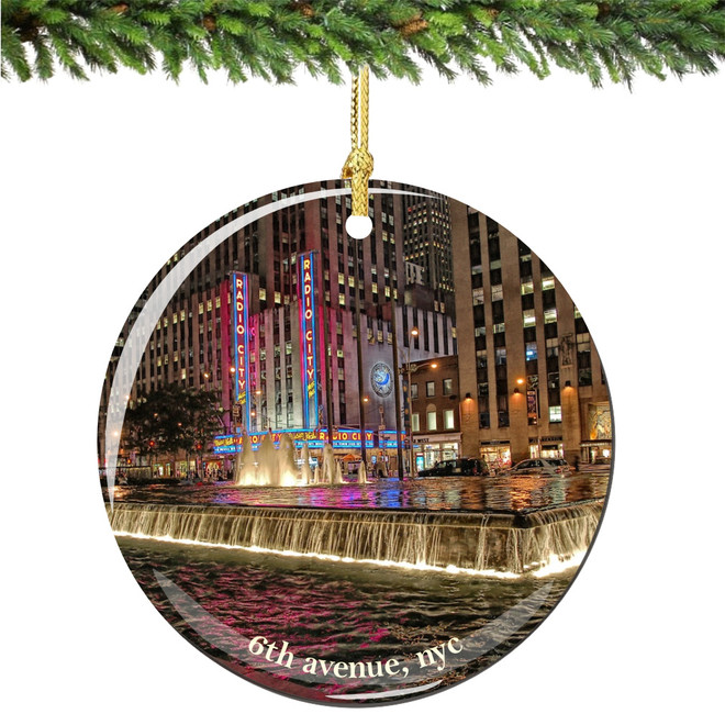 Porcelain NYC 6th Avenue Christmas Ornament with Radio City Music Hall