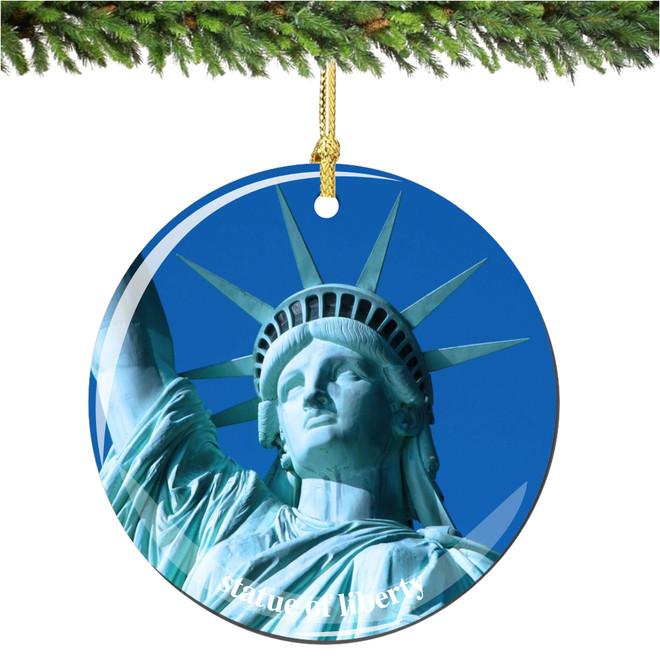 Porcelain New York City Statue of Liberty Christmas Ornament