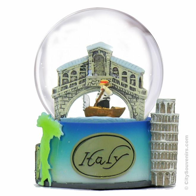 Italy Snow Globe with Pisa, Coliseum and Venice Gondola
