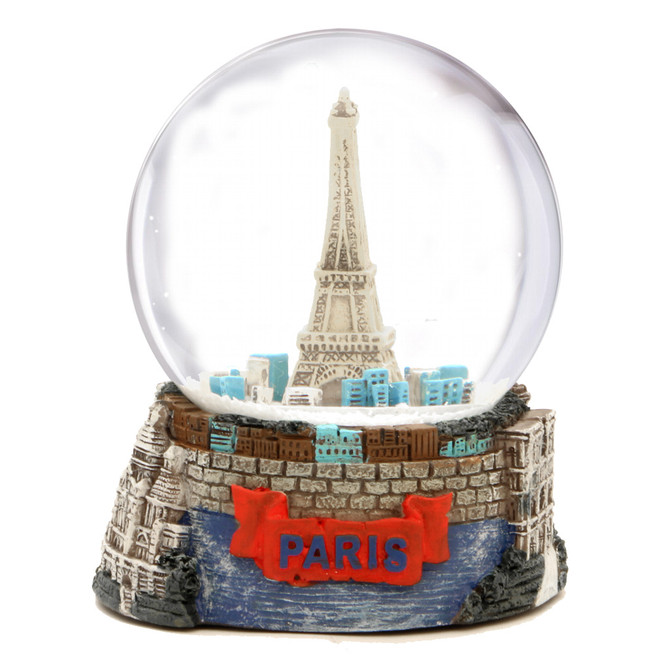 Paris Landmarks and Eiffel Tower Snow Globe