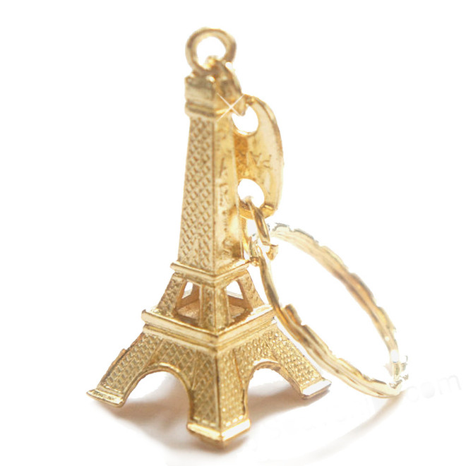 Gold Eiffel Tower Key Chain