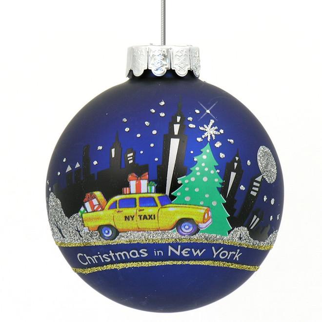 New York City skyline and taxi Christmas ornament, glass ball