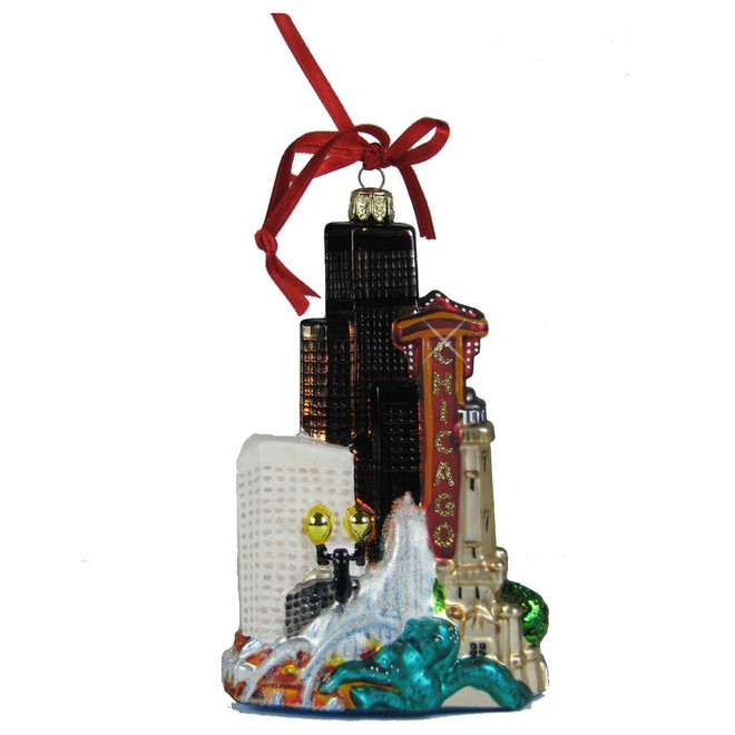 Chicago Christmas ornament of the Chicago skyline, glass ornament