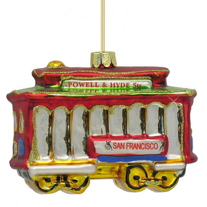 Glass San Francisco Trolley Car Christmas Ornament