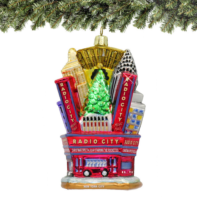 Glass Radio City Music Hall Christmas Ornament - 3D Radio City Music Hall Glass Ornament