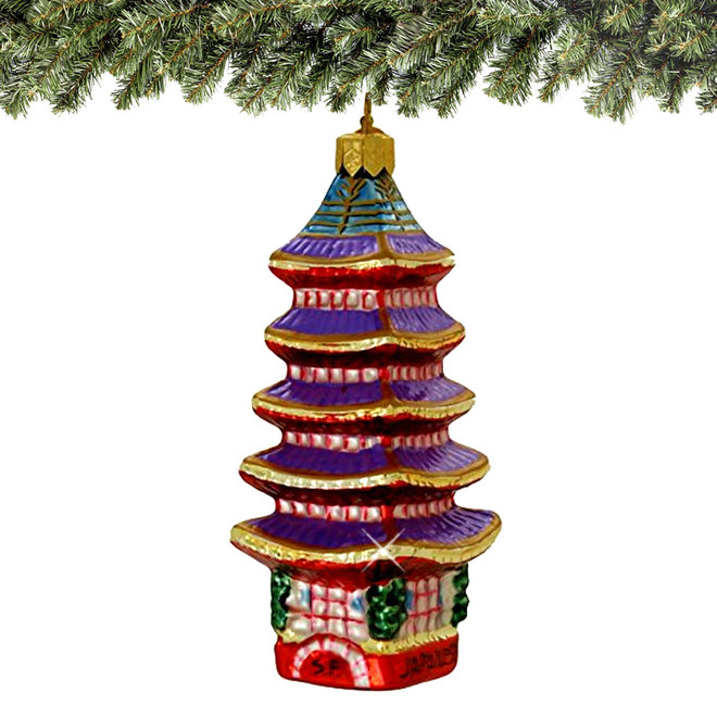 Japanese Christmas Tree Ornaments.Japanese Five Storied Pagoda Ornament Glass