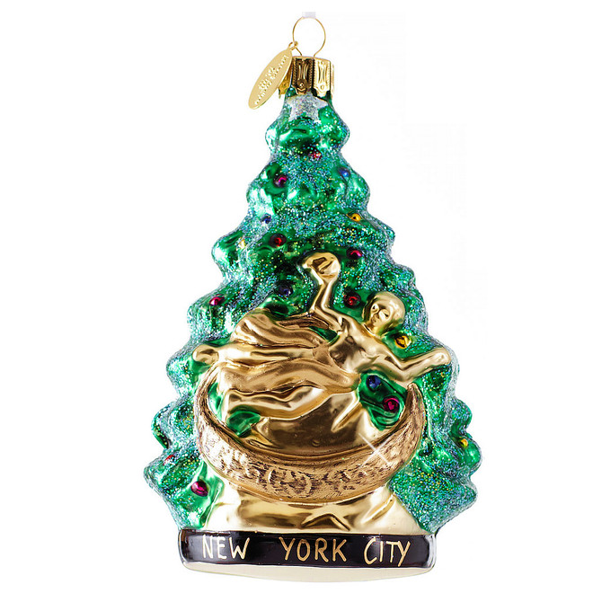 Glass NYC Rockefeller Center Tree Christmas Ornament