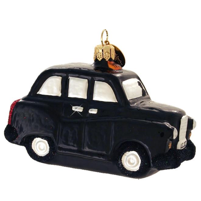 Glass London Taxi Cab Christmas Ornament