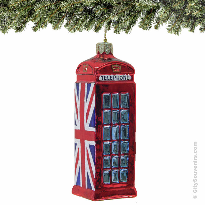 London Telephone Booth Ornament Glass