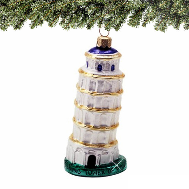 Italy Glass Leaning Tower of Pisa Christmas Ornament - Leaning Tower Of Pisa Glass Ornament