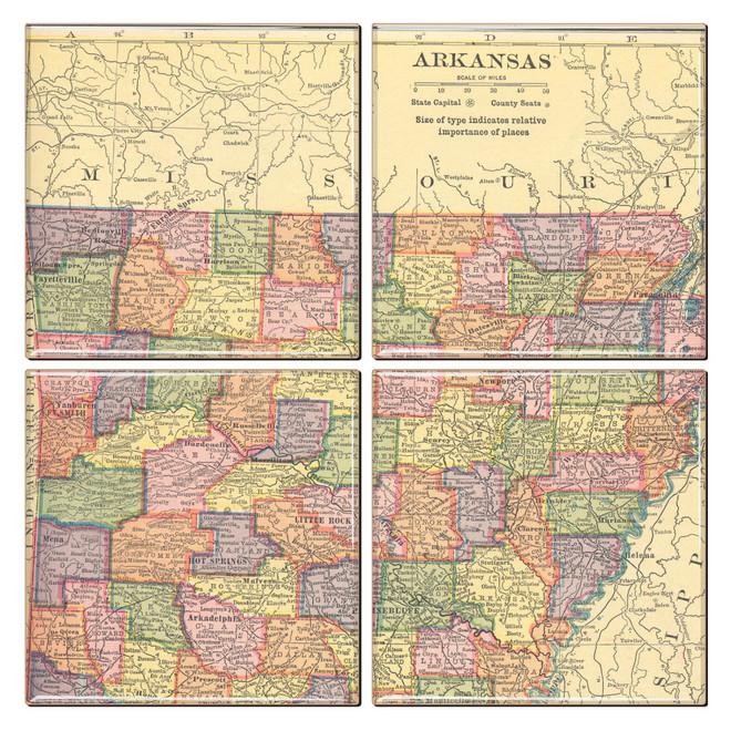 Arkansas Map Coaster Set of 4