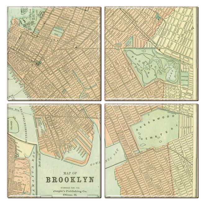 Brooklyn Antique Map Coaster Set of 4