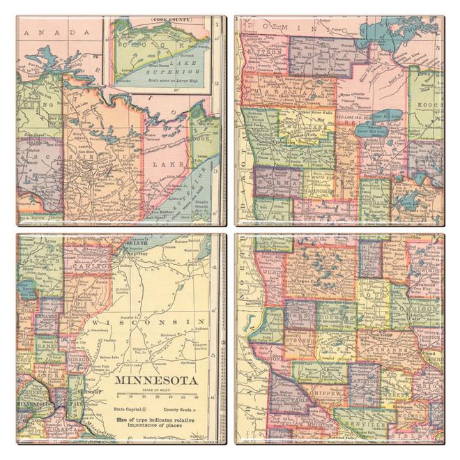 Minnesota Map Coaster Set of 4