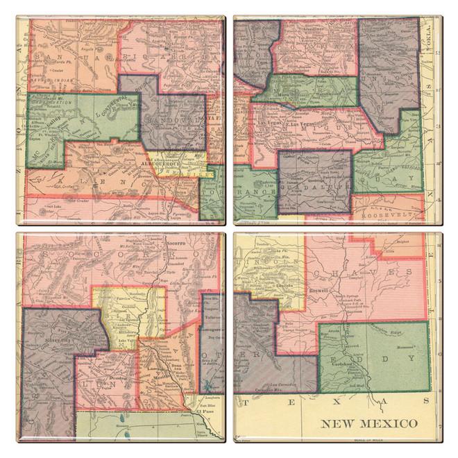 New Mexico Map Coaster Set of 4