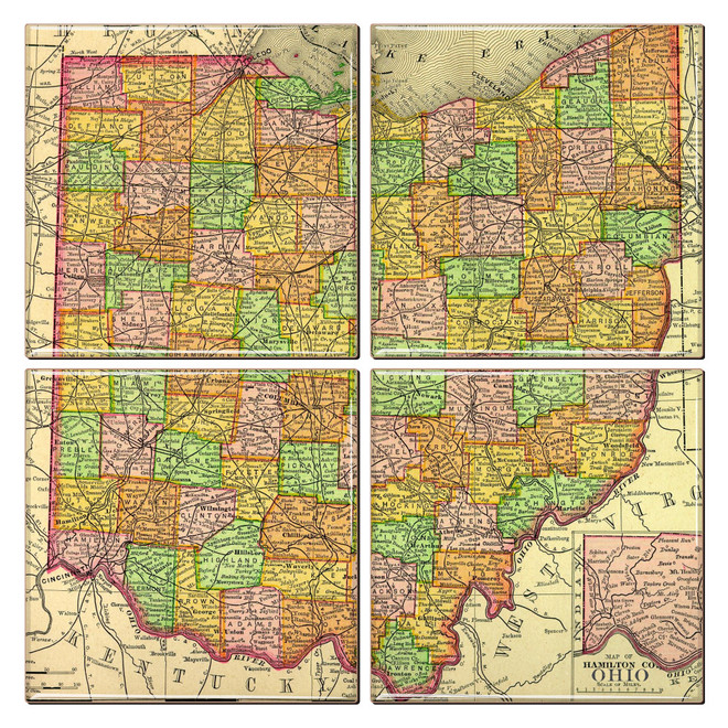 Ohio Map Coaster Set of 4
