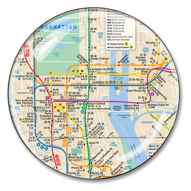 Manhattan Mta Mini Subway Map And Address Finder.Nyc Subway Map Crystal Paperweight