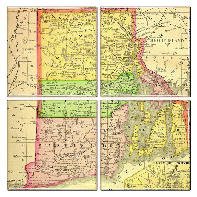 Rhode Island Map Coaster Set of 4