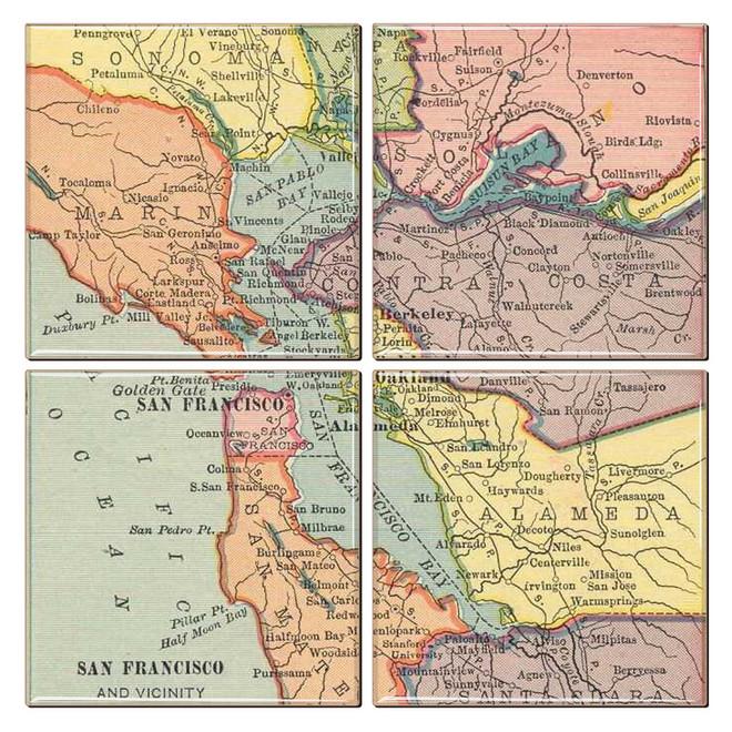San Francisco Antique Map Coaster Set of 4