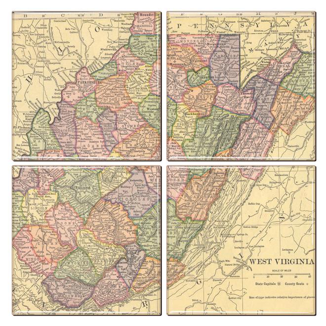 West Virginia Map Coaster Set of 4