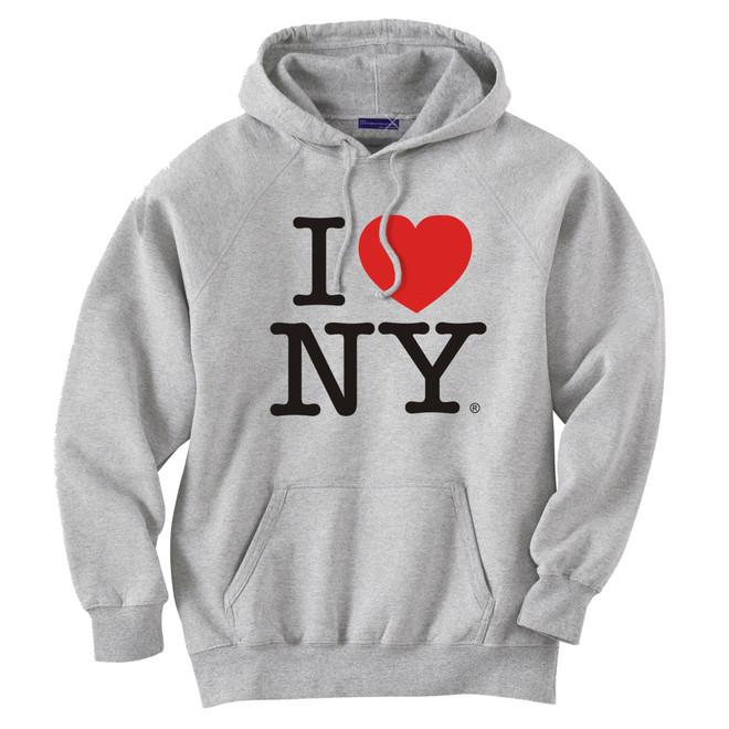 Gray I Love NY Sweatshirt Hooded