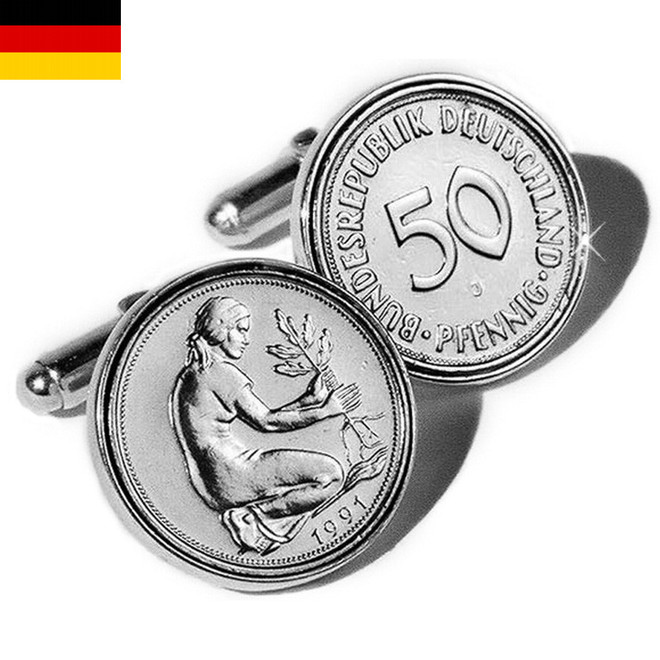 Sterling Silver Mark Coin German Cufflinks