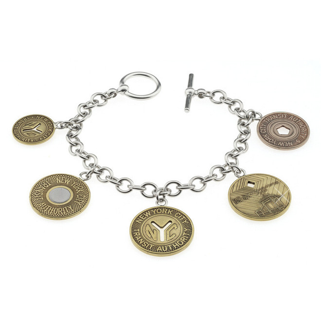 Silver Token Charm NYC Subway Bracelet
