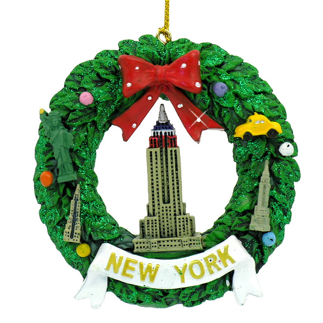 New York City Wreath Empire State Building Christmas Ornament