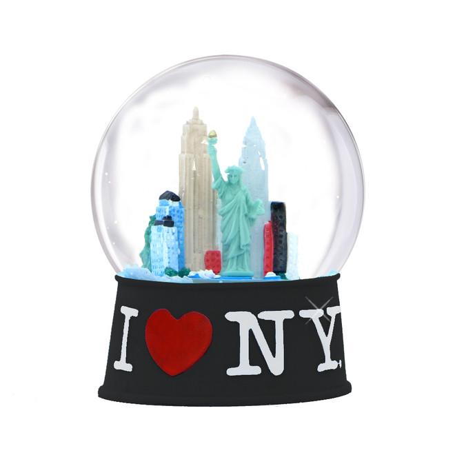 I Love NY Snow Globe 65mm - Black