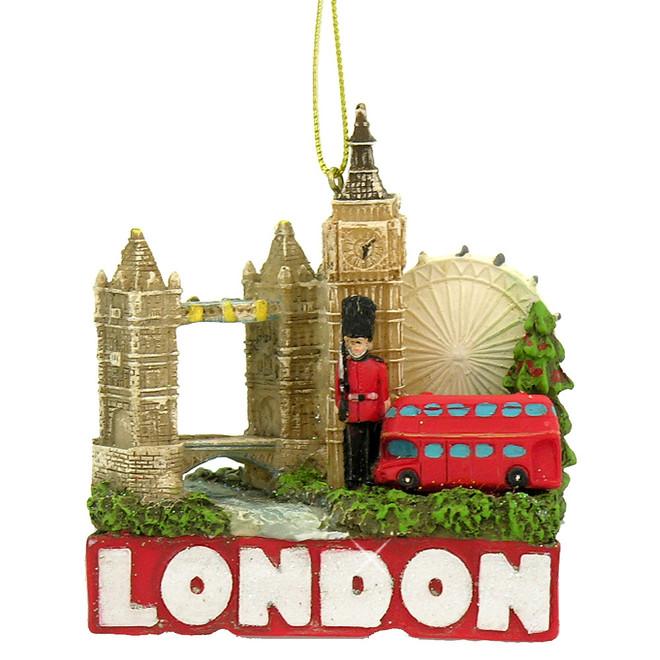 London Christmas Ornament London Tower Bridge, London Eye, Big Ben, Bus and Guard
