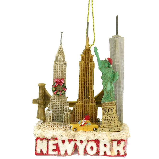 New York City landmark and skyline Christmas ornament with Statue of Liberty, Empire State Building, Chrysler Building, NY Taxi and Brooklyn Bridge
