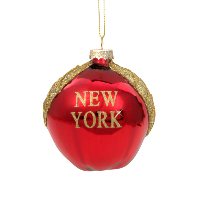 Glass NY Apple New York City Christmas Ornament
