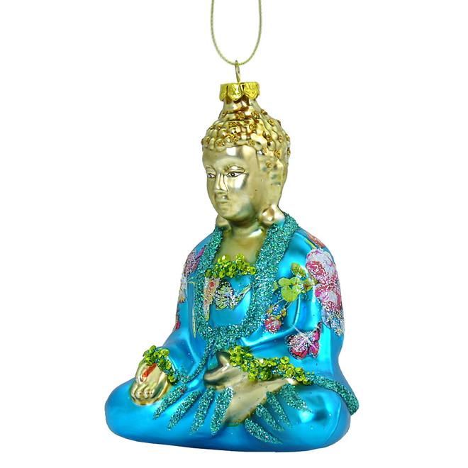 Glass Sitting Buddha Christmas Ornament - Glass Buddha Ornament