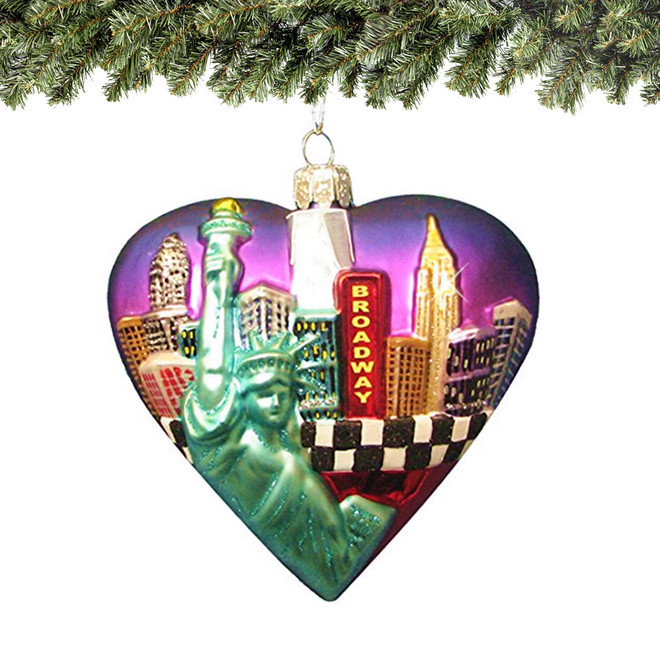 New York City Big Apple Ornament Glass Heart