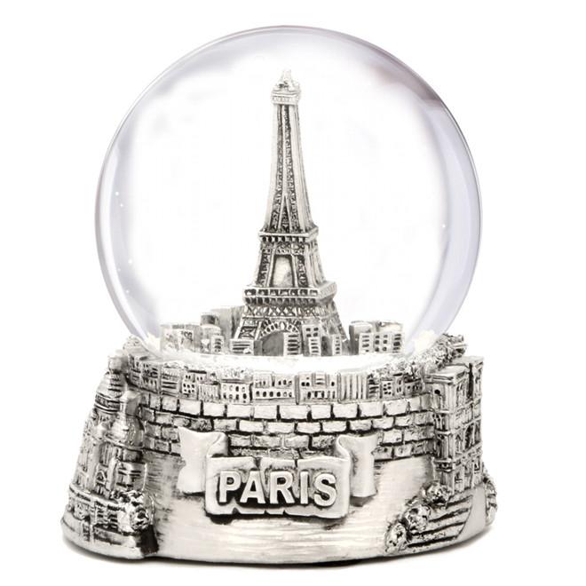 Silver Paris Snow Globe