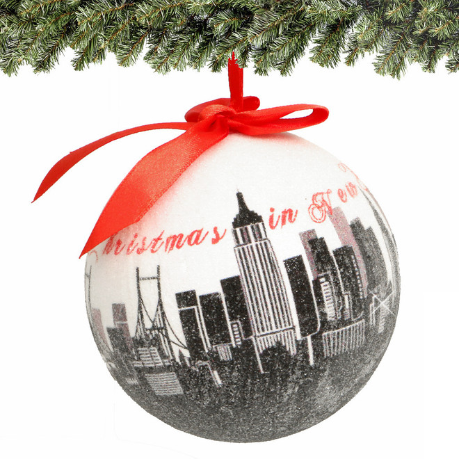 """4"""" NYC Skyline Christmas Ornament with glitter"""