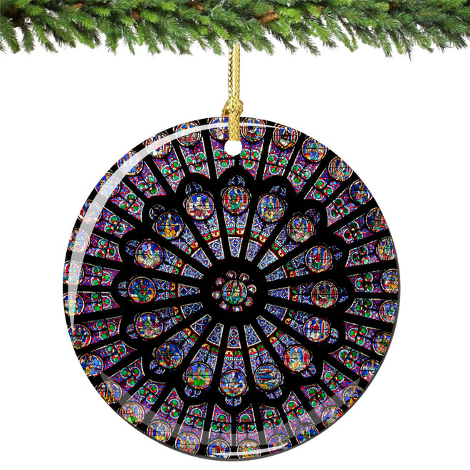 Notre Dame Cathedral Christmas Ornament, Rose Window