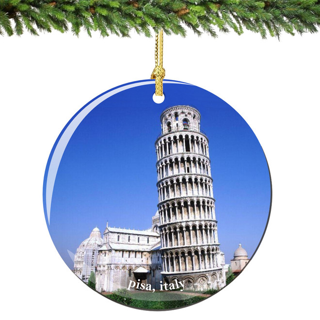 Leaning Tower of Pisa Christmas Ornament Porcelain