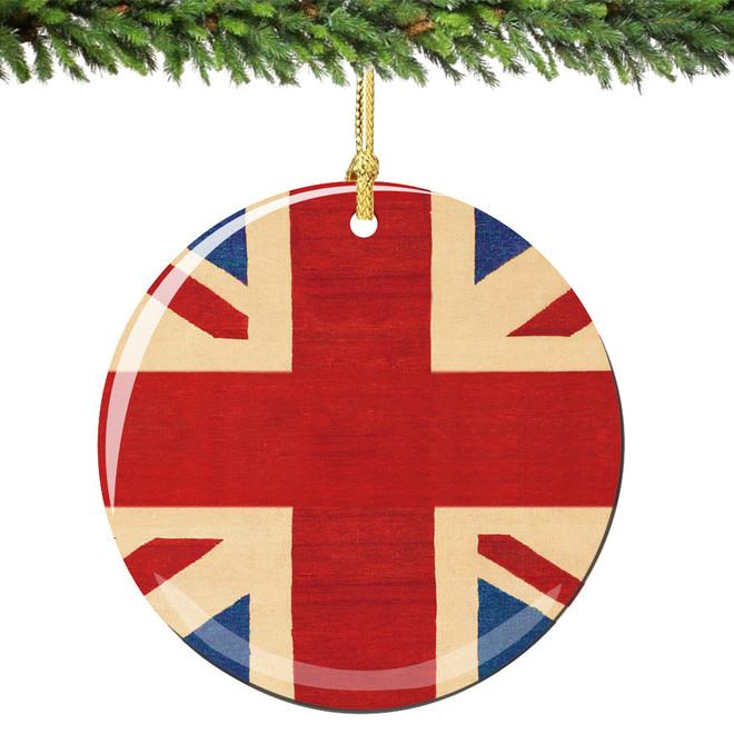 Union Jack Christmas Ornament Porcelain