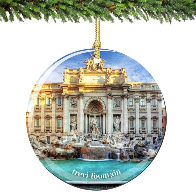 Rome Trevi Fountain Christmas Ornament Porcelain