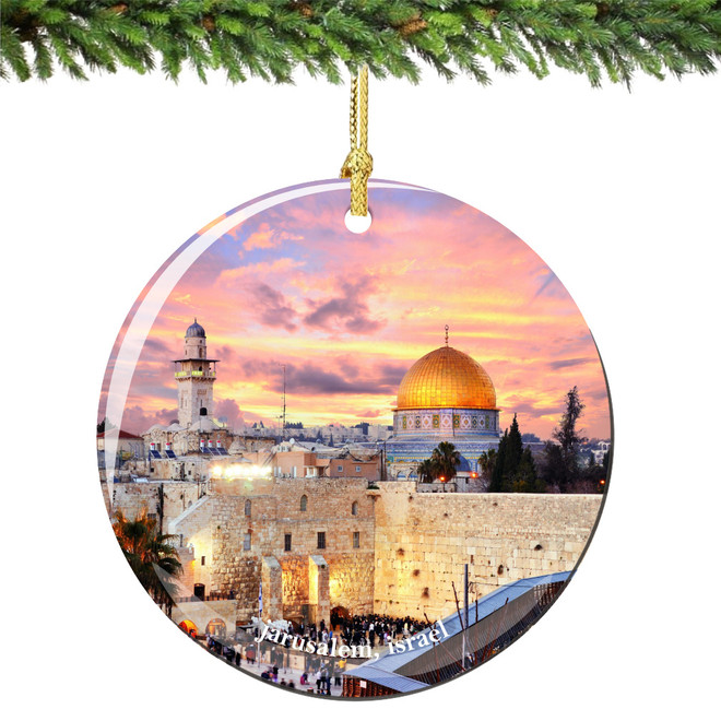 Jerusalem Israel Christmas Ornament Porcelain