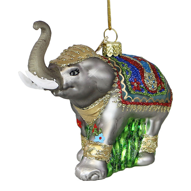 Majestic Elephant Glass Christmas Ornament