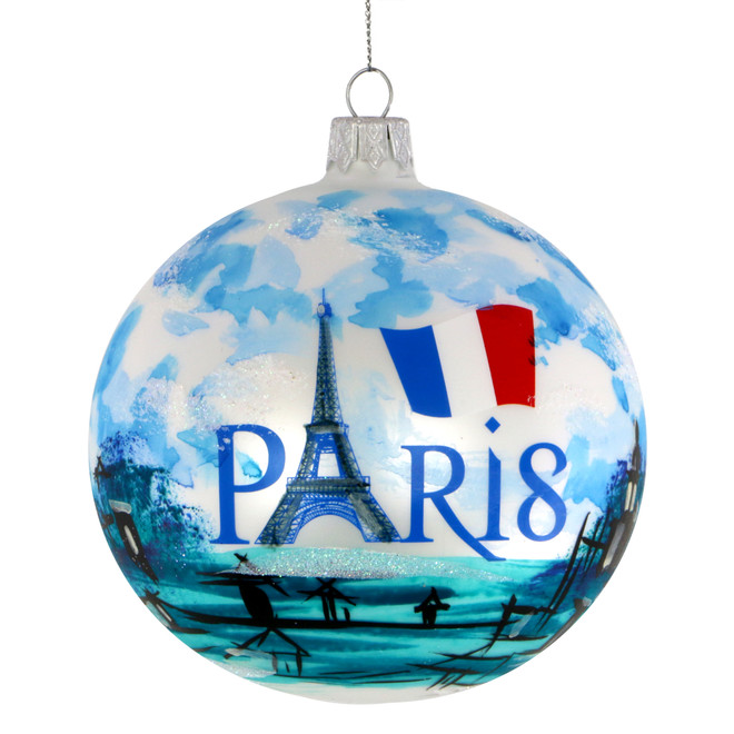 Paris Christmas Ornament 4 Inch Hand Painted Glass Ball