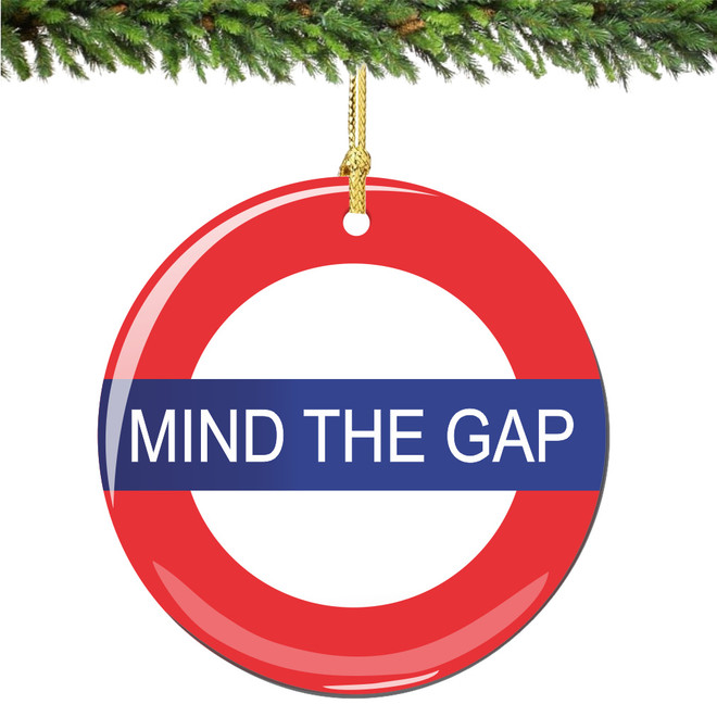London Christmas Ornament with Mind the Gap