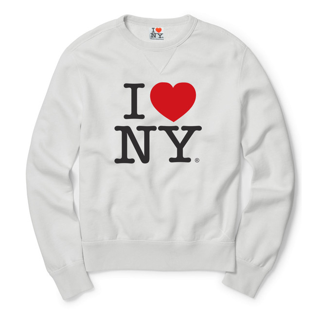Youth White I Love NY Sweatshirt
