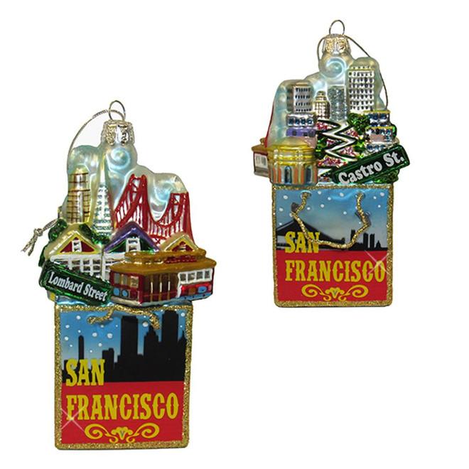 San Francisco Glass Shopping Bag Ornament