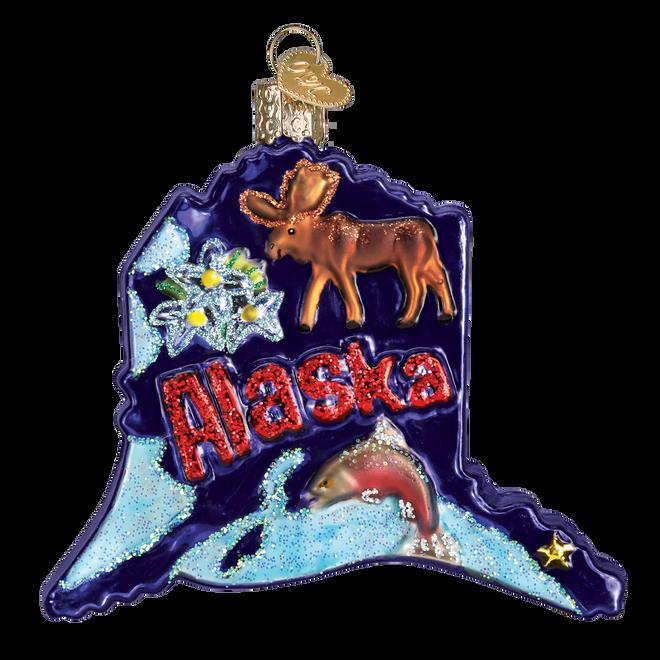 State Of Alaska Landmarks Glass Ornament