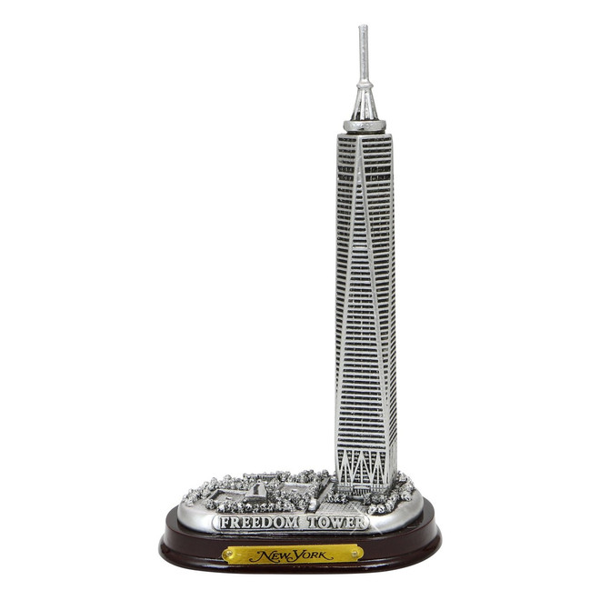 Silver Freedom Tower Model With Wooden Base 6 Inches