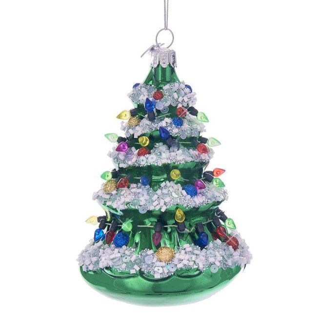 Glass And Glitter Old Fashioned Christmas Tree Ornament 5 Inches