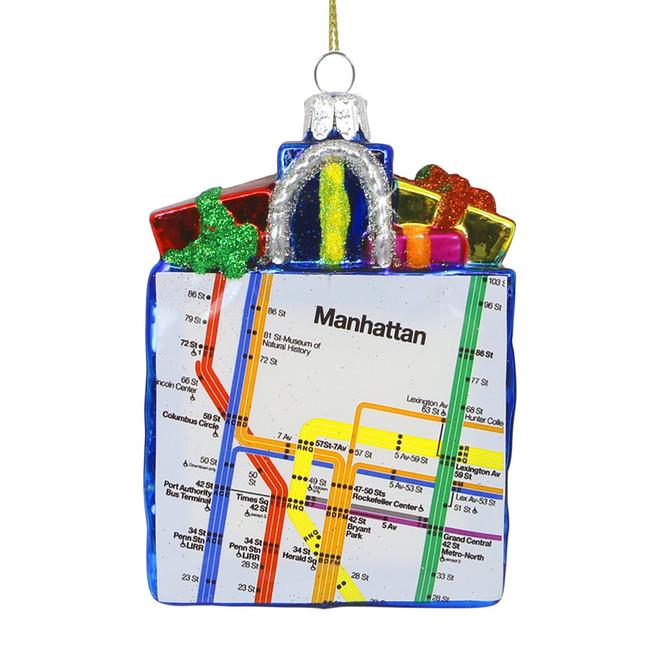 Glass MTA Subway Map Bag Christmas Ornament 5 Inch