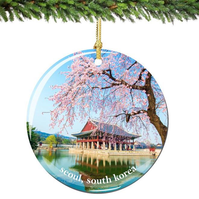 Seoul Christmas Ornament Porcelain Double Sided